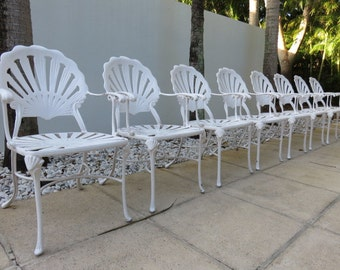 Set Of Eight Mid-Century Modern Grotto Shell Back Aluminum Patio Dining Chairs, All Arms, In The Manner Of Brown Jordan.