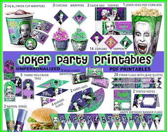 Joker party printables, Suicide Squad party favors, birthday banner, cupcake wrappers, toppers, quotes,labels,tags , Harley queen, paper PDF