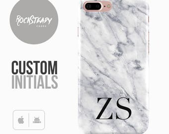 Marble iPhone 7 Case, monogram 7, 6, 6s Plus, samsung S8, S7,  5S, SE white grey personalised phone Case, Galaxy S6, S5