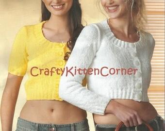 Ladies Cropped Cardigan Long and Short Sleeved DK Knitting PDF Pattern