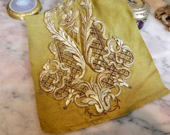 Antique Applique Flower Panel Gold Baroque Embroidery