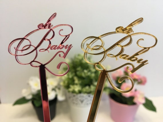 Oh Baby Drink stirrers Baby Shower Cake Topper New Baby Newborn Party decorations Personalized its a girl Centerpiece sticks Oh Boy Oh Girl