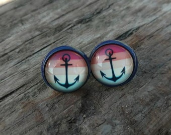 Blue Nautical Stud Earrings Anchor Studs Beach Fashion Jewelry ~ Sale Expires Today