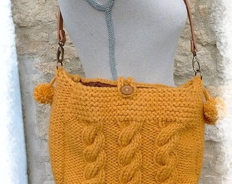 Knitted yellow cross body satchel bag