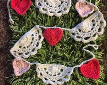 Crochet heart and lace valentine wedding decor bunting, newborn photogtaphy valentines photoprops