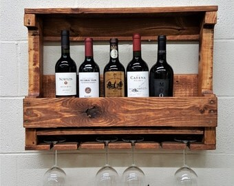 "Sale - 30% Off - Coupon ""SPRINGSALE"" - Rustic Wine Rack. Wood Wine Rack. Modern Wall Bar. House Gift. Reclaimed Wood. Model # 006"