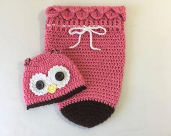 Crochet pink and brown owl baby newborn cocoon and hat photo prop
