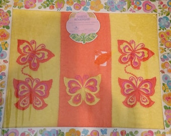 Guest Boutique Three Decorative Guest Towels (hand towels) Butterfly Embroidered. New in Box