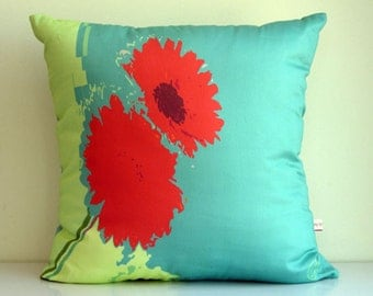 Red flower THROW pillow cover,flowers,pop art,Teal pillow,lime green,eco friendly,organic cotton,decorative pillow,cushion cover 43cm x 43cm