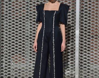 Jumpsuit black/pantsuit black/women jumpsuit of black fresh wool