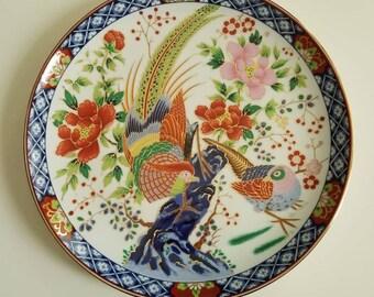 Beautiful Asian Bird decorative plate // Chinoiserie// gold details // birds // decorative wall plate // metallic gold outline