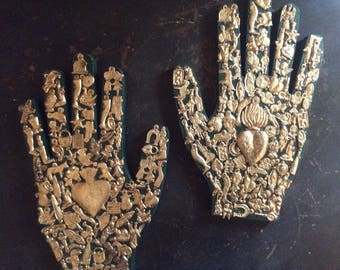 "Wood Hand with Milagro Charms//Mexican Folk Art// LG 9x6""//Milagros Hand//Right or Left Hand- Green"