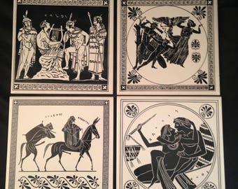 Greek Tile Made Greece by Philkeram Johnson/H & R Johnson Wall TileSet 4/Greek Gods Tile/Greece Decor/Vintage Wall Tile