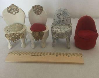 Dollhouse furniture miniature four vintage handmade chairs
