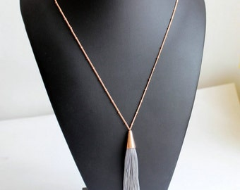 Unique Gray Tassels Long Detailed Pendant Gold Chain Statement Necklace
