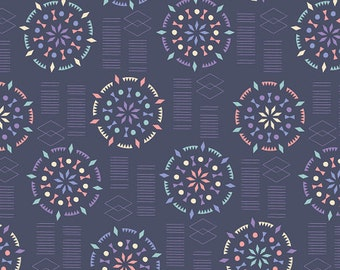 Kaleidoscope Mandalas Fabric - Dark Blue - Sold by the 1/2 Yard