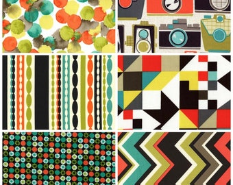 Retro Camera Fabric Fat Quarter Bundle - 6 prints