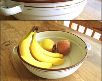 Vintage Enamel Salad Bowl Handles Large Mixing Bowl White Brown Gold Trim Enamelware Enamel Container Farmhouse Kitchen Decor Yugoslavia