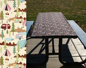 Fitted Picnic Table Cloth • Folding Table Cover • Vintage Retro Camper • Tents Trailers Motorhomes • Elastic Table Cover • Fitted Tablecloth