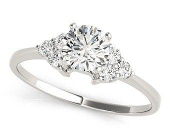 0.68 tcw. Petite Trio Cluster Engagement Ring - MDC Diamonds New York