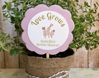 8 ~ Bridal Shower favors, flower/plant favors, personalized flower pot favors