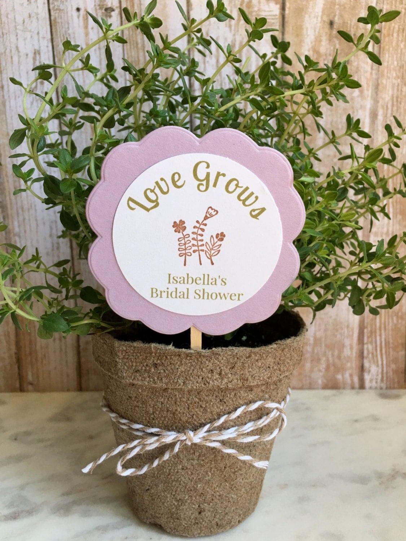 Flowers For Bridal Shower Favors : Bridal shower favors flower plant personalized