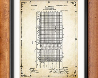 Accountant Gift - Ledger Patent Print - Accounting - Book Keeping - Office Decor Wall Art Mathematical Calculation 1356