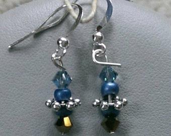 Blue Bicone Crystal Beaded Earrings