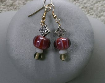 Red Rose Lampwork Earrings
