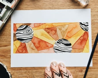Flare - Geo Collection - Original Watercolor Painting - PRINT - 5x7