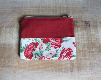 Coin purse, wallet, red, pocket, zip closure, coin pouch, case, coin holder, eco-responsible, recycled fabrics