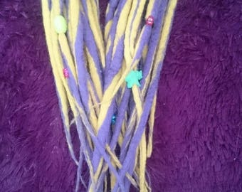Yellow/purple Custom Double Ended dreads (16) thick with dreads beads.