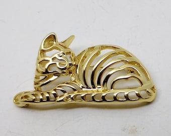 Vintage Gold Tone Danecraft Cat Brooch