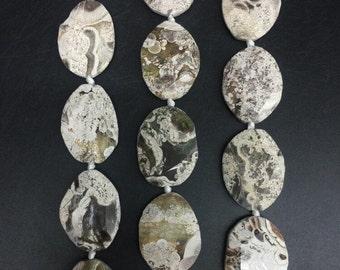 Approx 9pcs Natural Ocean Jasper Freeform Faceted slice beads,Raw Ocean Jasper ellipse shape slab nuggets pendants necklaces 30-32x40-42mm