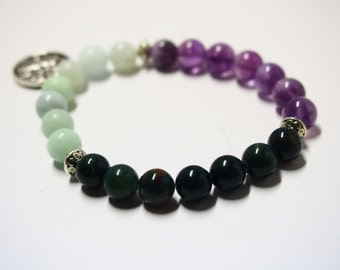 Aries Bracelet with Amethyst, Amazonite & Bloodstone Gemstones/Astrology Jewelry for Star Signs/Horoscope Bracelet