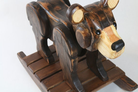 Rustic bear rocker rustic decor western decor by for Rustic bear home decor