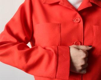 Play Mobil / jacket Vintage short / Jaclyn Smith / red-Orange / Made In USA / Crop Jacket
