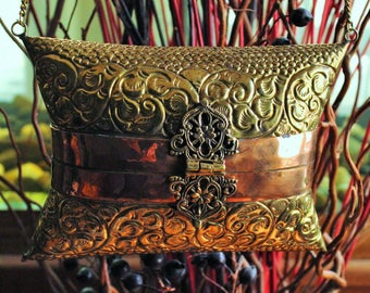 Brass Pillow Purse, Ornate With Copper Detail