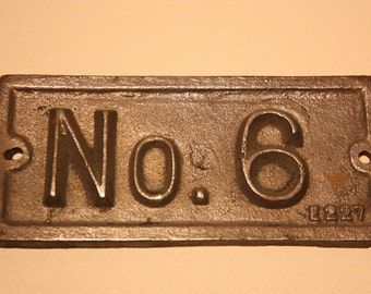 Vintage Cast Iron Name Plate