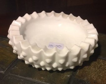 "Fenton Hobnail Milk Glass 4 3/4"" Ashtray ID# 15-55"