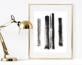 Black and white print, printable minimalist black and white print, brush strokes print, minimalist wall art, minimal poster, abstract print