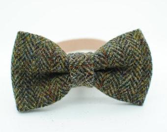Harris Tweed Dog Bow Tie - Rustic Green Herringbone. Wedding bow, bowtie, bow, colllar bow, dapper, handmade, luxury bow tie