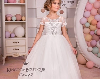 Ivory Lace Flower Girl Dress - Wedding Party Holiday Bridesmaid Birthday Tulle Lace Ivory Flower Girl Dress 14-712