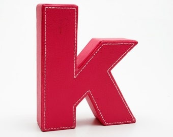 "Bright Cotton Candy Pink Letter ""K"" - Textured Leather w White Stitching All Around Edges -- Desk or Wall Decor"