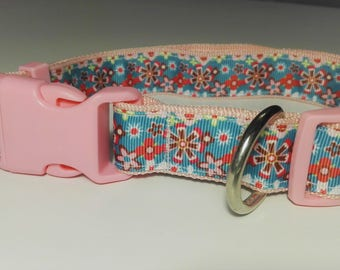 Adjustable Floral Dog Collar - Pink