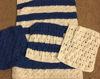 Blue and white dish towel and dish cloths