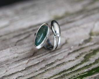 Moss Agate Silver Ring, Gem Unique Jewelry
