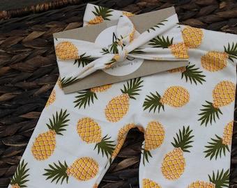 Pineapple baby leggings and headband set, pineapple print baby pants, jersey knit