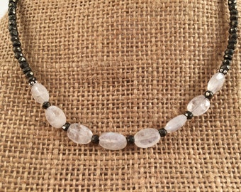 Moonstone and pyrite necklace