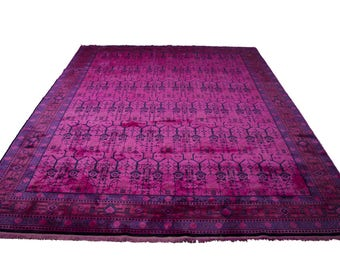 9×12 Luxury Hot Pink Rug Overdyed Chinese Art Deco 2891